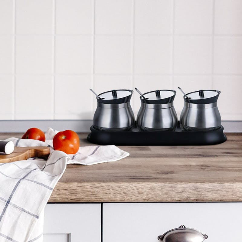 Set of 3 Spice Canisters with Tray and Spoons