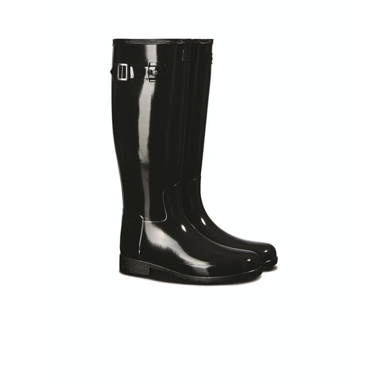 Ladies Refined Tall Gloss Wide Fit Black Boots