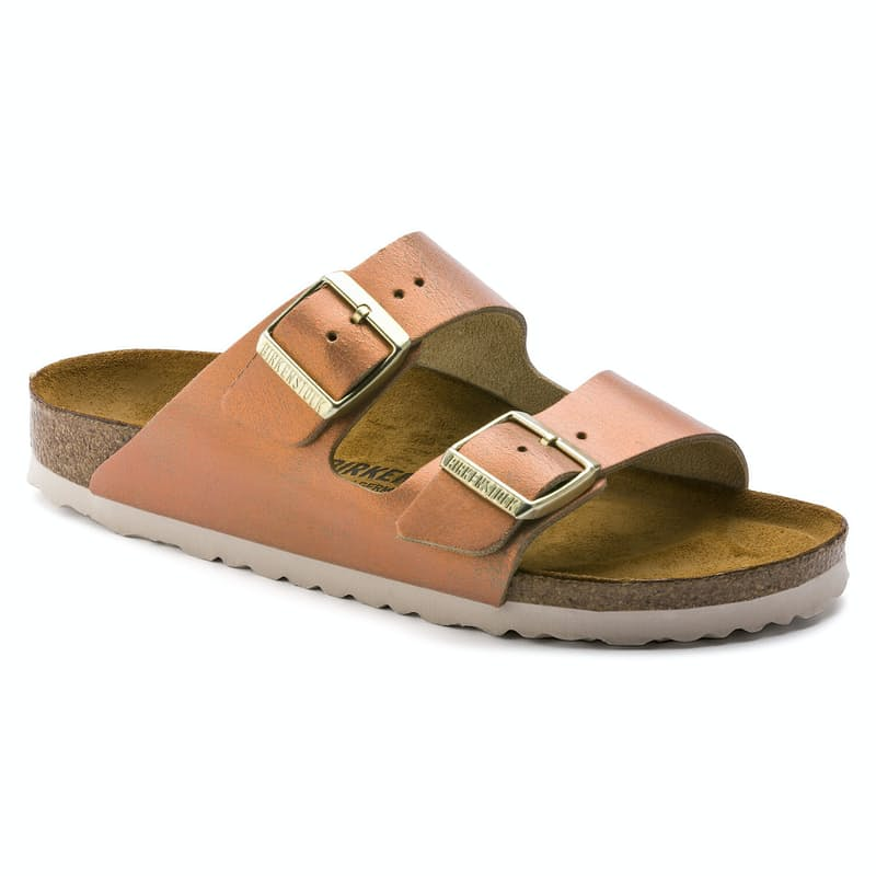 Arizona Washed Metallic Suede Leather Sandals (Regular Fit)