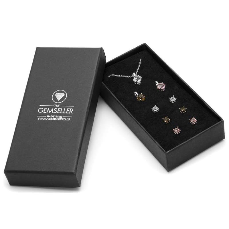 Set of 3 Pendant Necklaces with Matching Stud Earrings