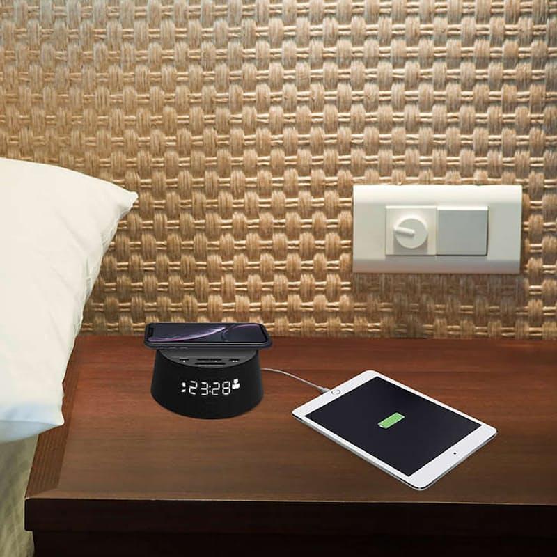 Bluetooth Alarm Clock with Wireless Qi Charging Pad & USB Port (Model: TAPR702)