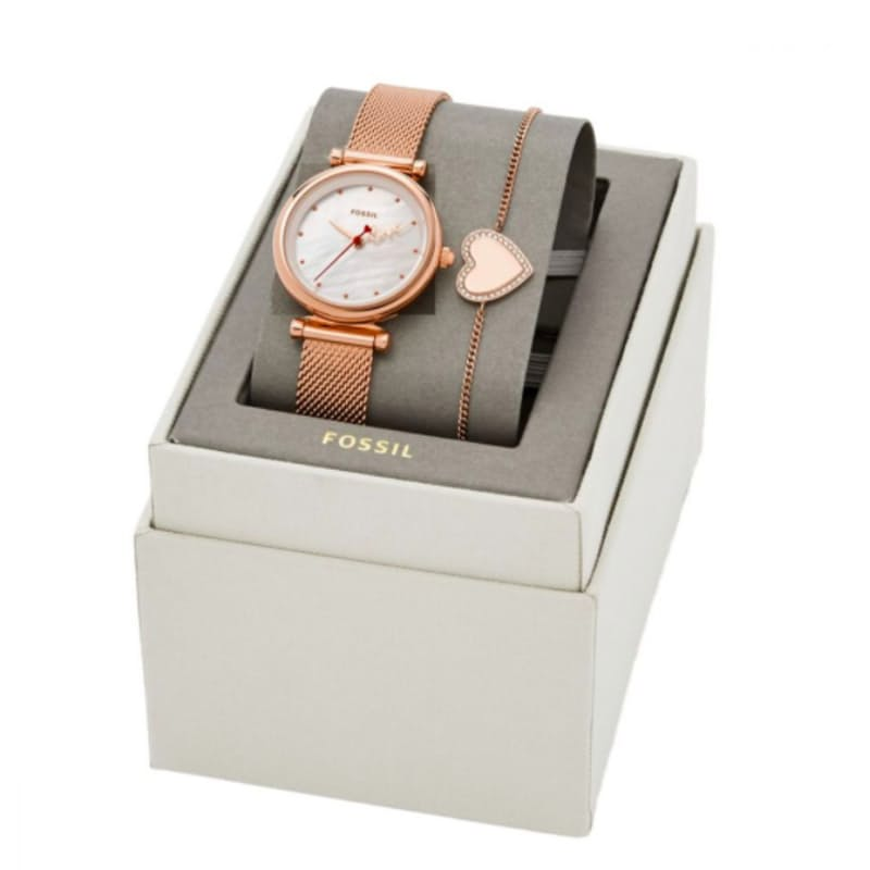 Carlie Mini Rose Gold Round Stainless Steel Watch Set