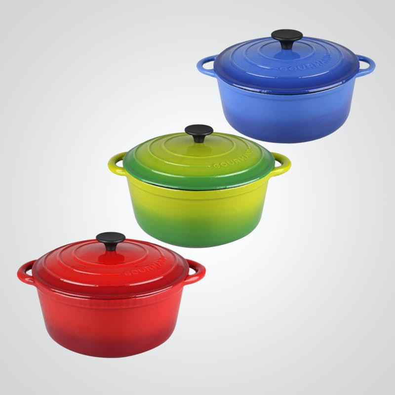 4L or 6.5L Round Cast Iron Casserole with Lid