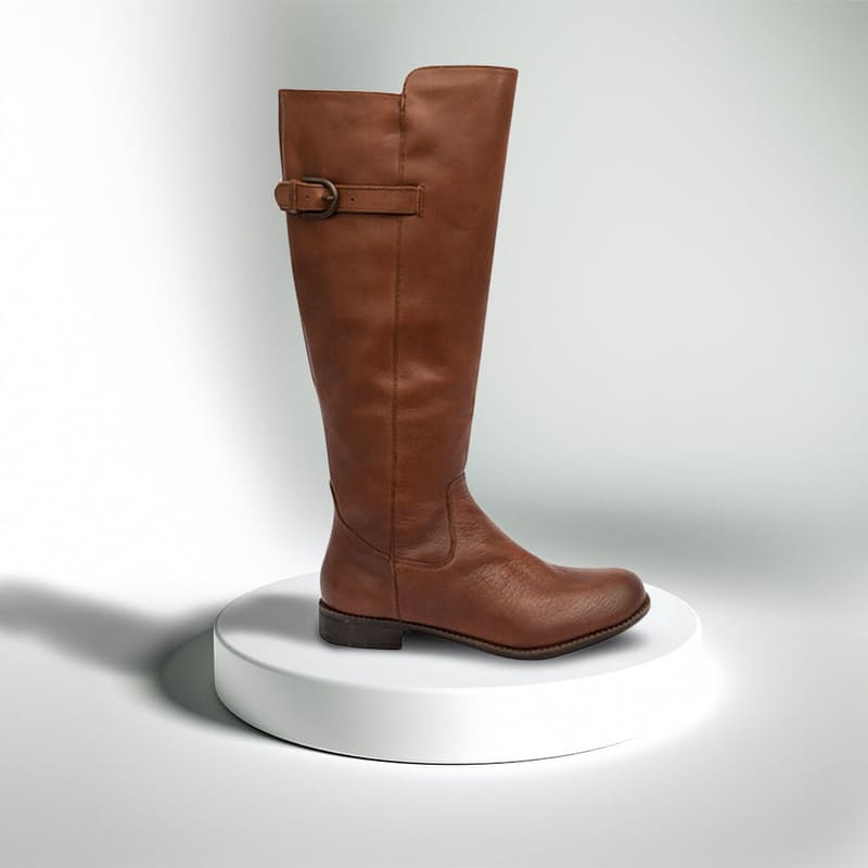 Ladies Brown Faux Leather Knee High Boots