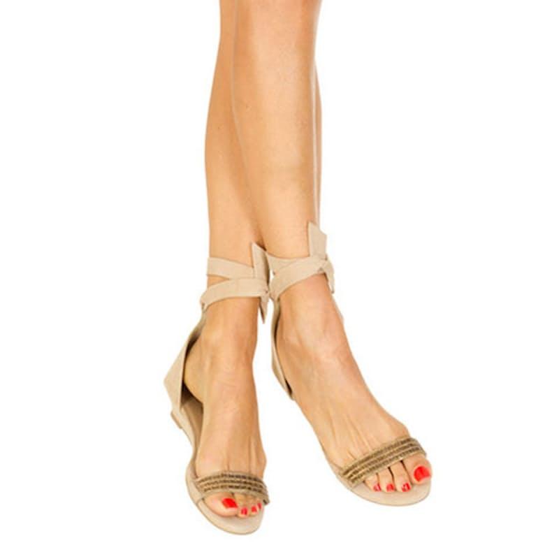 Beige Gold Beaded Sandals