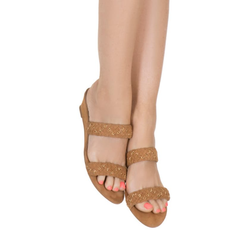 Tan Suede and Gold Weave Sandal