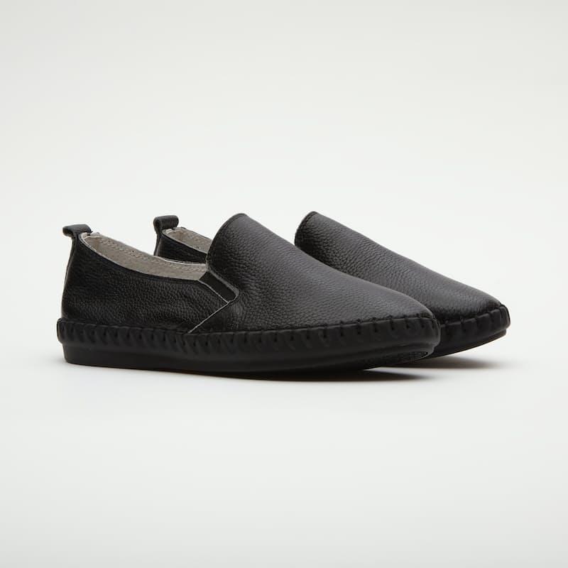Gabbi Black Leather Slip-On Sneakers