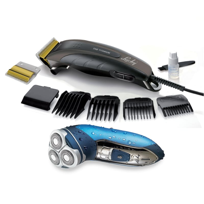 Wet & Dry 3 Blade Shaver and Titanium Hair-clipper (Model: HCL208+MSH3HRWA)
