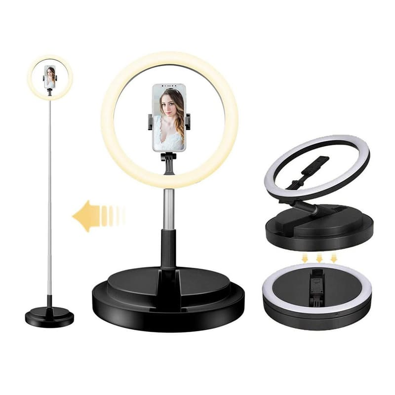 25cm Collapsible Multiple-Mode LED Ring Light with Telescopic Stand