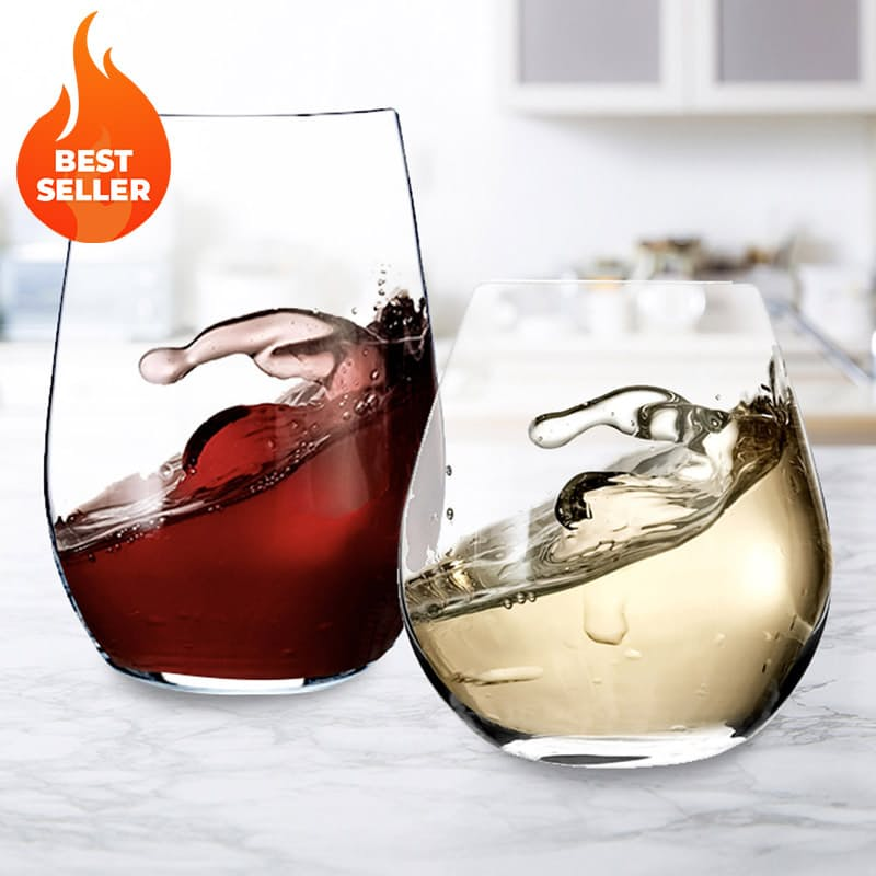 Set of 12 Stemless Lead-Free Crystal Wine Glasses
