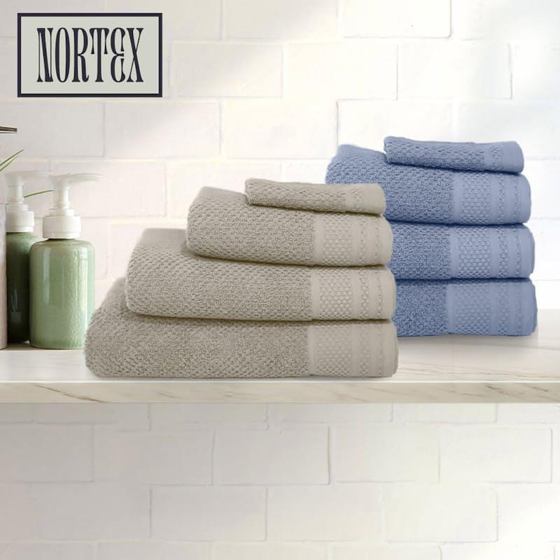 Set of 4 550gsm Waffle Texture Towels (Facecloth, Hand Towel, Bath Towel & Bath Sheet)
