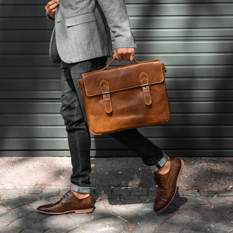 Genuine Leather Laptop Briefcase with Top Handle