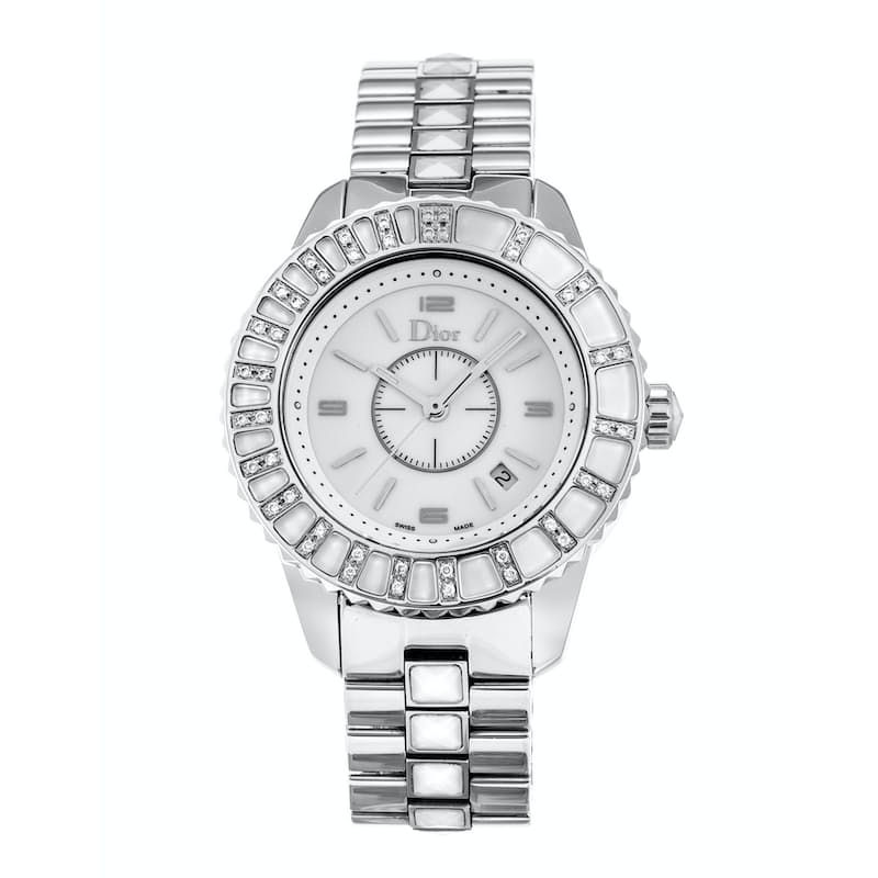 Ladies 33mm Diamond White Bezel Watch