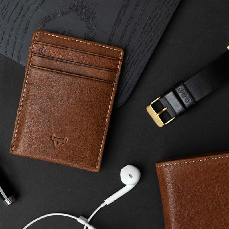 Genuine Leather RFID Card Holder and Note Clip