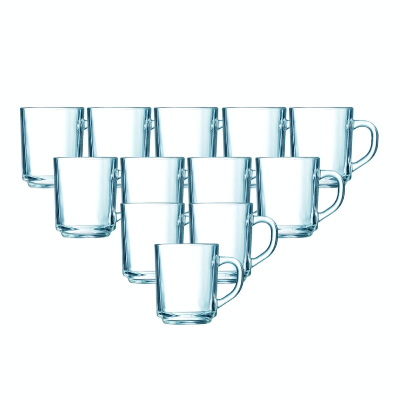 Set of 12 Tempered Glass Mugs