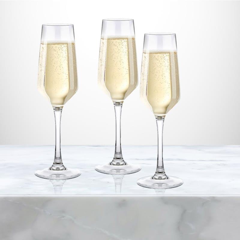 Set of 6 Flame Polished 170ml Champagne Glasses