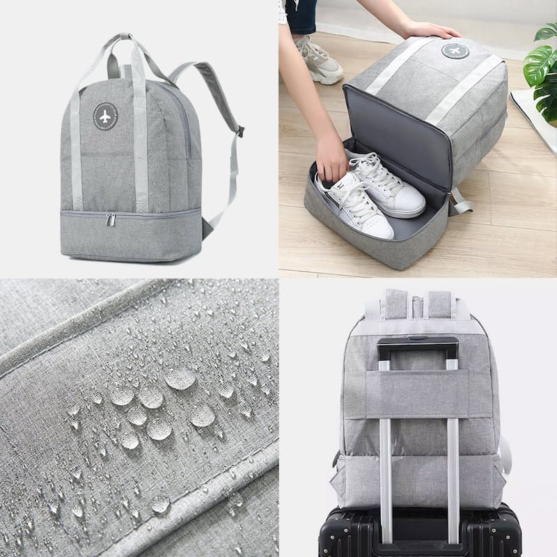 Waterproof Backpack with Bottom Shoe Storage Compartment and Luggage Sleeve