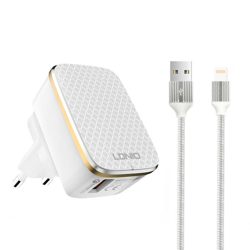 Quick Charging QC3.0 Block with Cable (Lightning, Micro-USB or Type C)