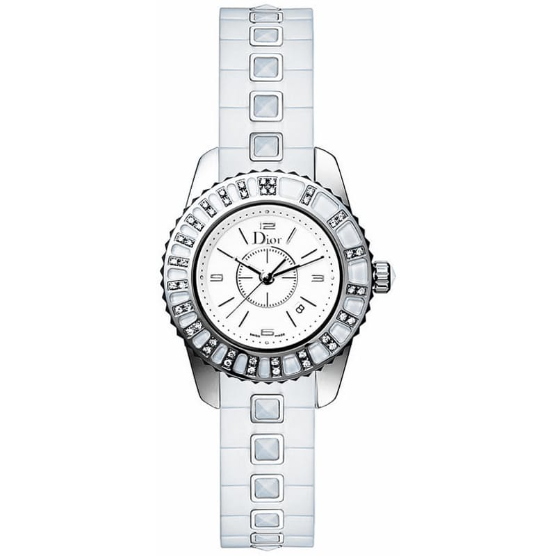 Ladies 33mm White Quartz Diamond Watch with Sapphire Band