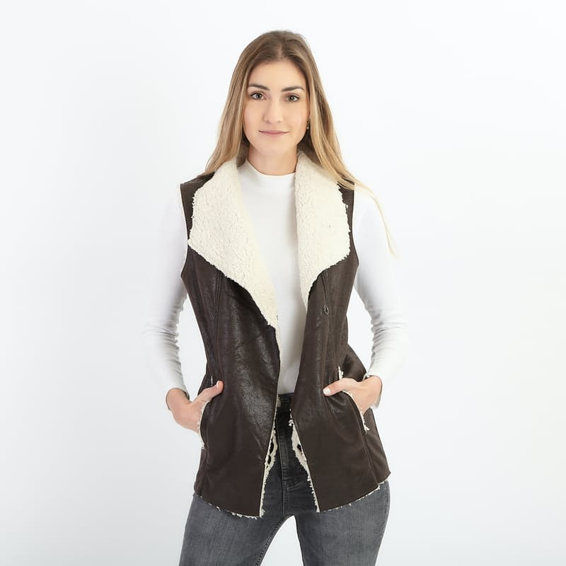 PU Leather Vest with Faux Fur Lining