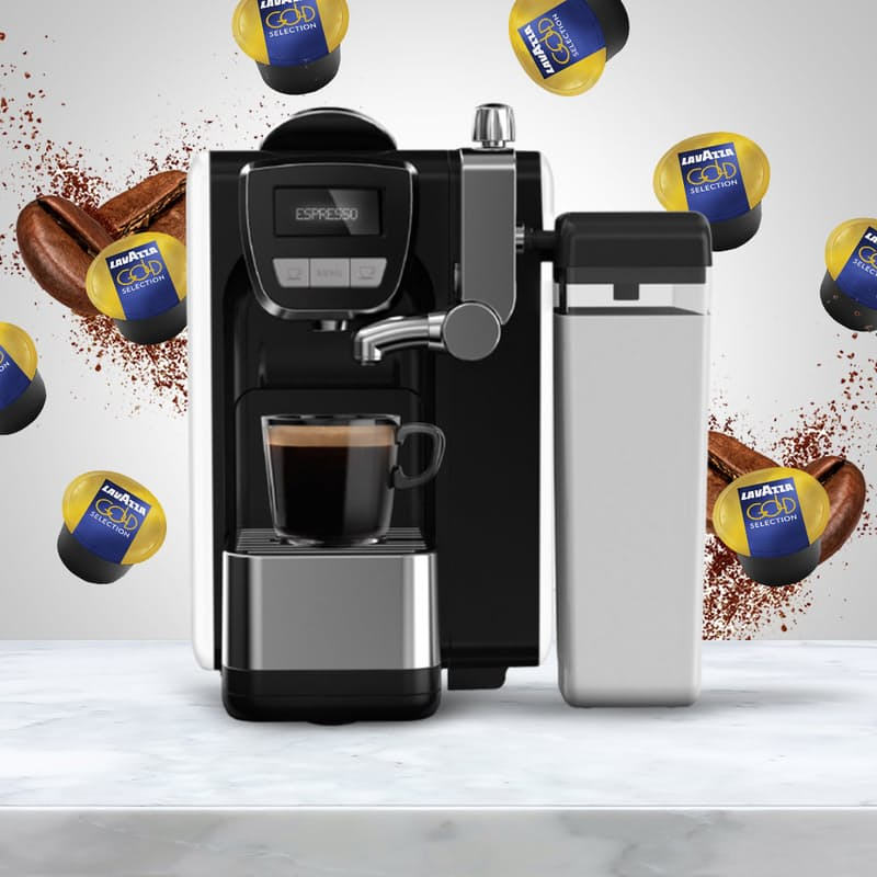 Lavazza BLUE Fresh Milk Espresso Capsule Machine with 100 Lavazza BLUE Gold Selection Coffee Capsules