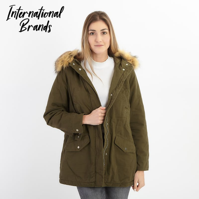Khaki Parka Jacket with Faux Fur Lining