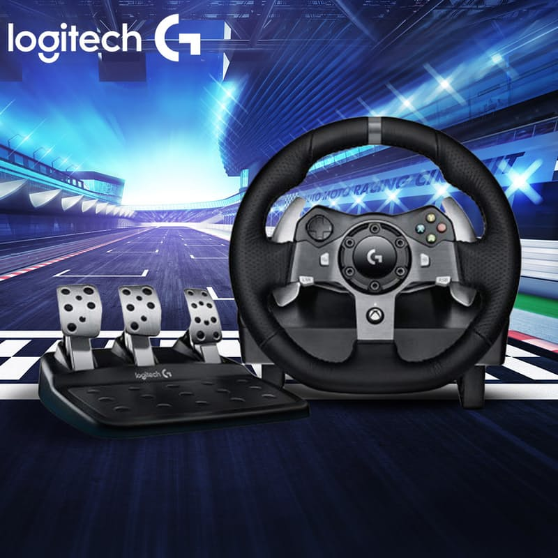 Driving Force Racing Wheel with Adjustable Floor Pedals (Model: G920)
