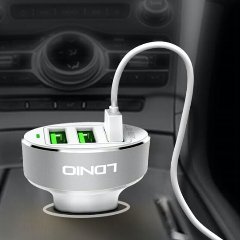3-Port USB Fast Charging Car Charger with Lightning Cable (iPhone)
