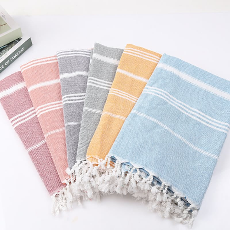 100% Cotton Striped Turkish Towels with Tassels