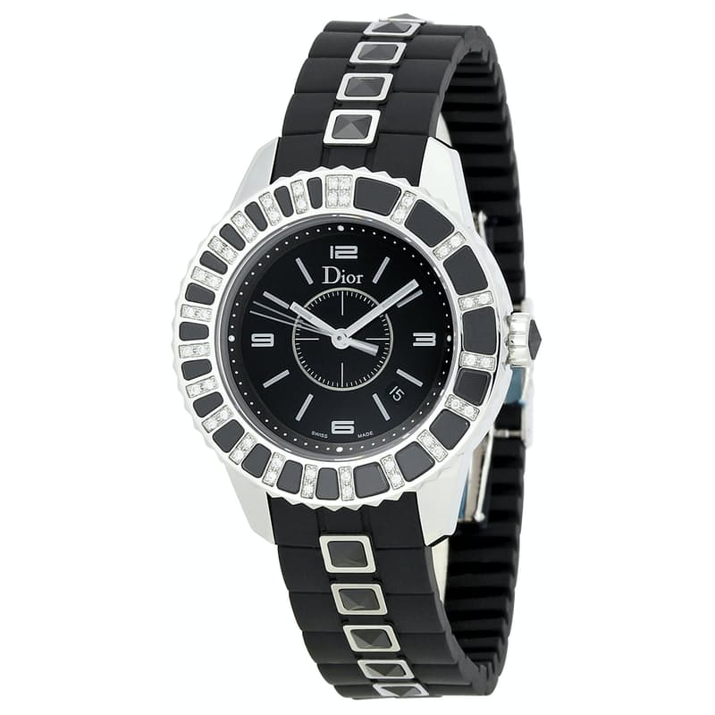 Ladies 33mm Diamond Black Dial Watch with Black Sapphire Band