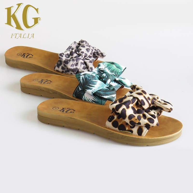 Ladies Printed Bow Slip-On Slider Sandals