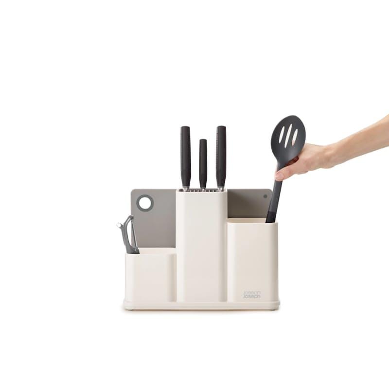 White Kitchen Worktop Organizer with Chopping Board