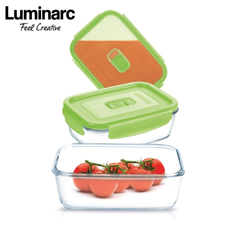 Pack of 3 Pure Box Active Rectangle Containers (380ml/1.22L)