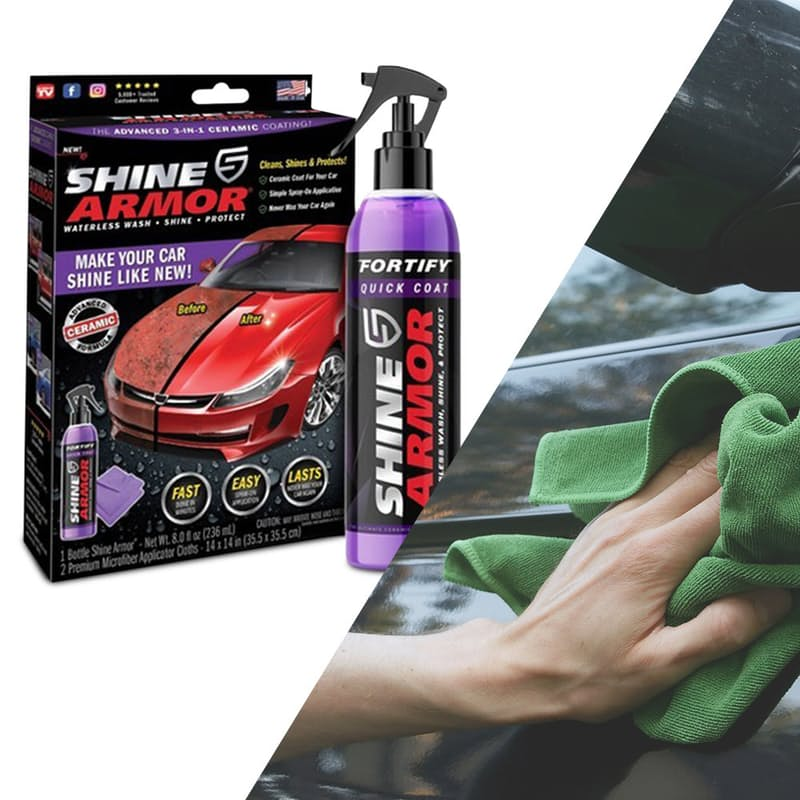 3-in-1 Fortify Quick Coat Shine & Protect Waterless Car Wash with Microfibre Cloth