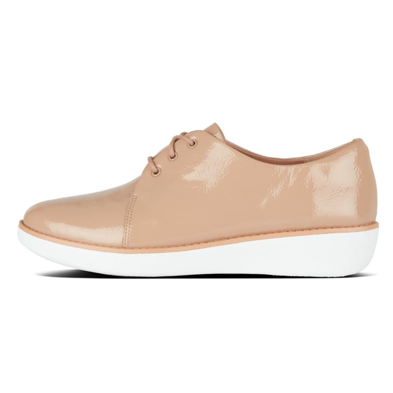 Ladies Derby Crinkle Patent Taupe Shoes