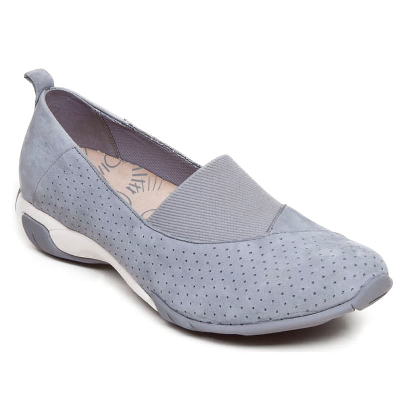 Ladies Nubuck Leather Slip On Shoe with Dual Density Outsole