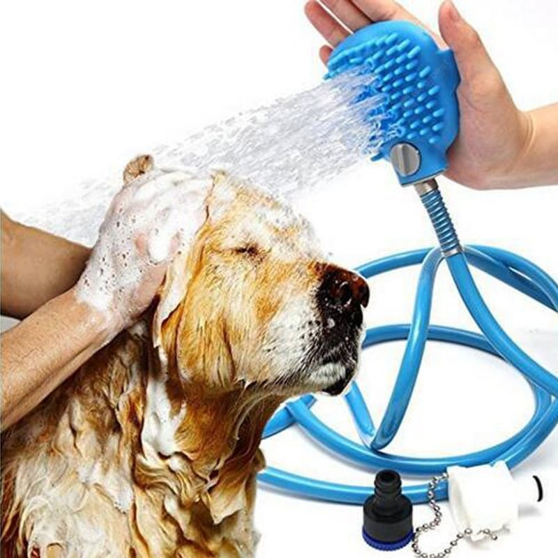 2.5m Bathing Tool Set with Silicone Flea Comb Brush for Pets