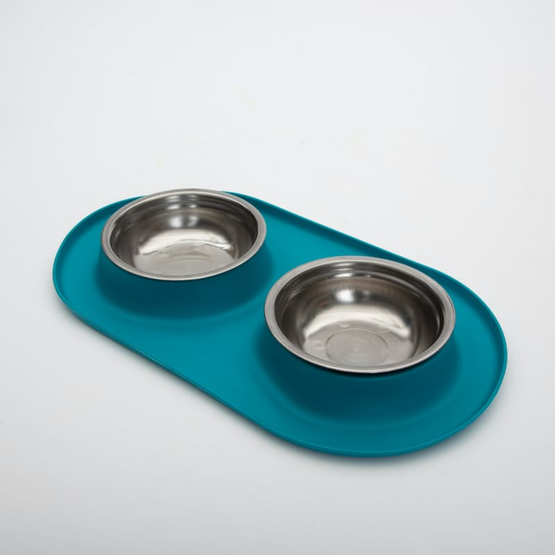 Stainless Steel Food Bowl Set with Silicone Non-Slip Feeding Mat