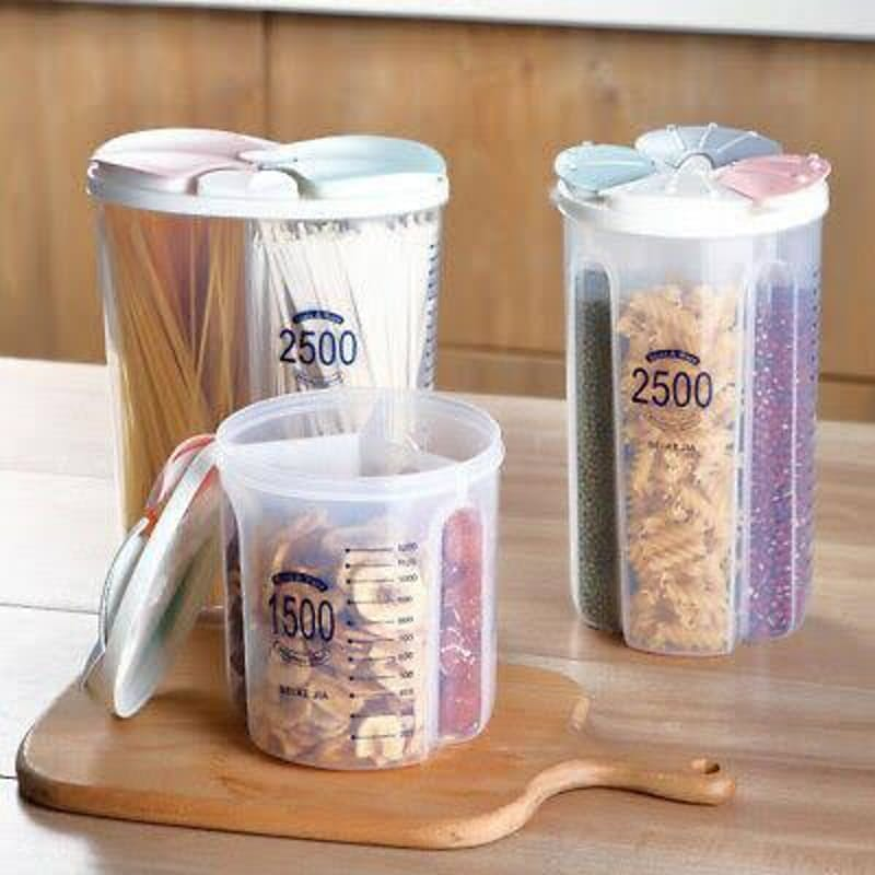 Set of 3 Multi-Compartment Food Dispensers with Adjustable Partitions
