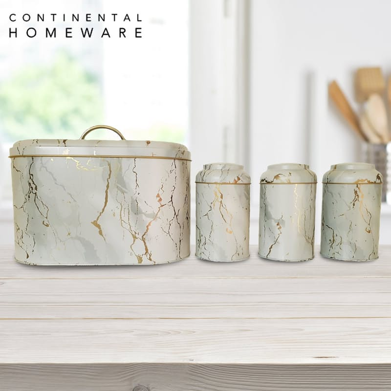 Gold Marbled Metal Bread Bin and Canister Set