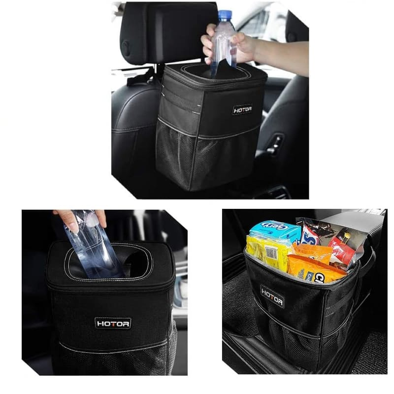 Car Trash Can Organizer Bag with Lid and Storage Pockets