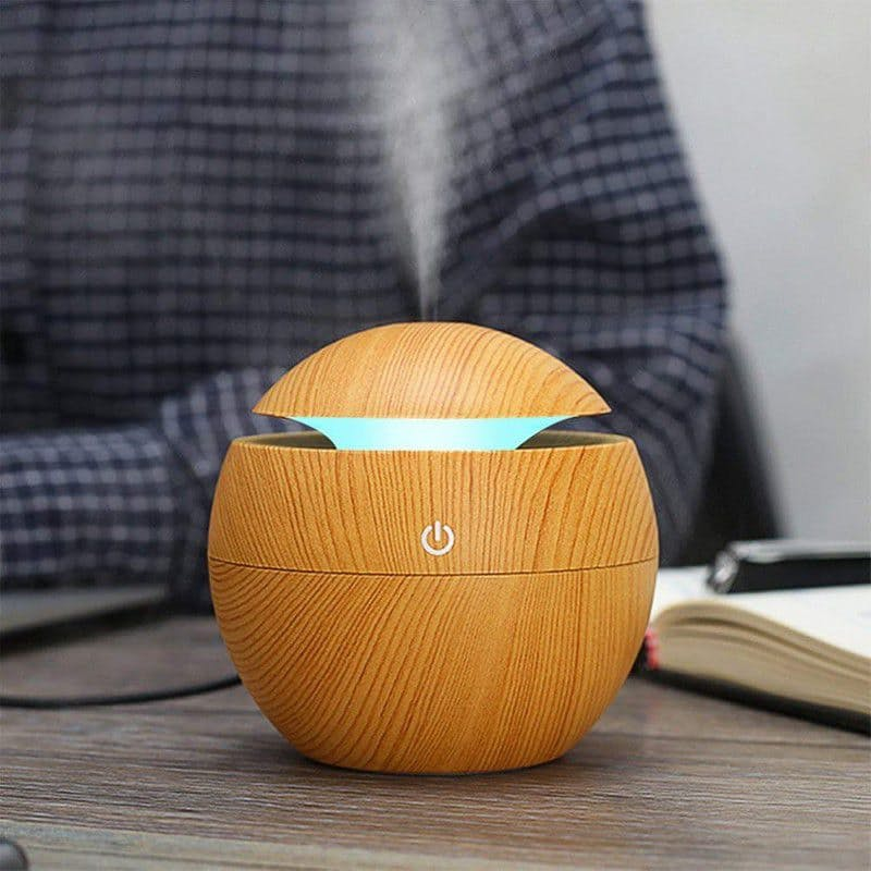 Wood Grain USB Humidifier with Colour Changing LED