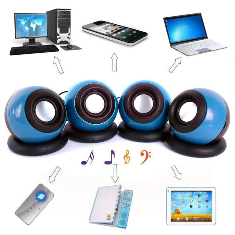 Pack of 2 Portable Mini USB Computer Speakers