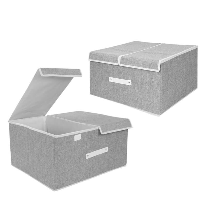 Set of 2 Dual Compartment Fabric Storage Containers