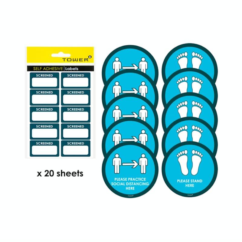 Social Distancing and Hand Washing Hygiene Sticker Bundles