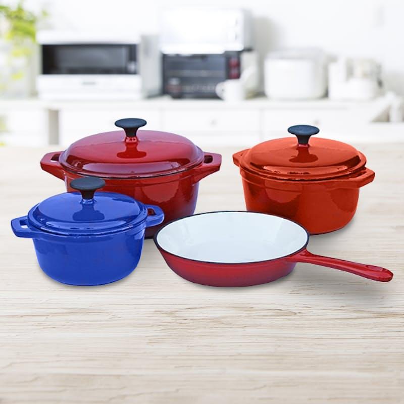 7 Piece Cast Iron Cookware Pot Set