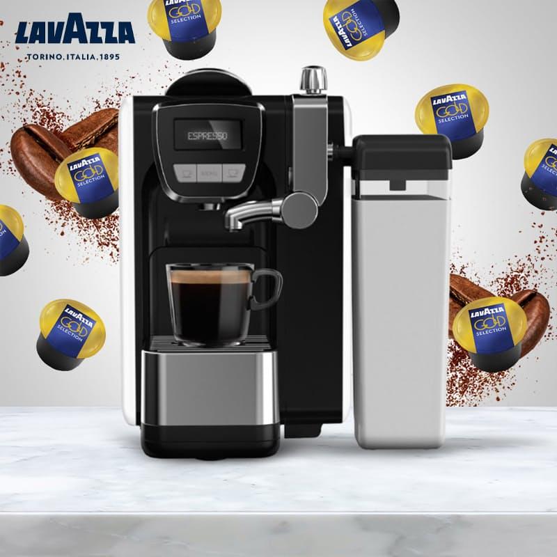 Lavazza BLUE Fresh Milk Espresso Capsule Machine with 100 Lavazza BLUE Gold Selection Coffee Capsules