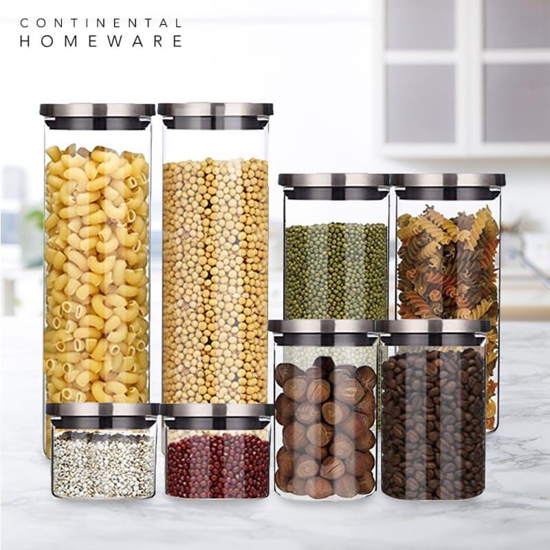 Set of 8 Glass Storage Jars