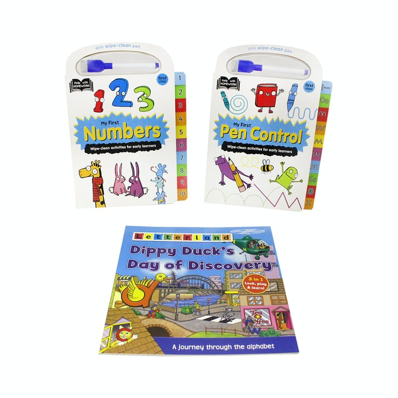 Letterland Alphabet Storybook & Help with Homework Board Books with Wipe-clean Pen (3 Books)