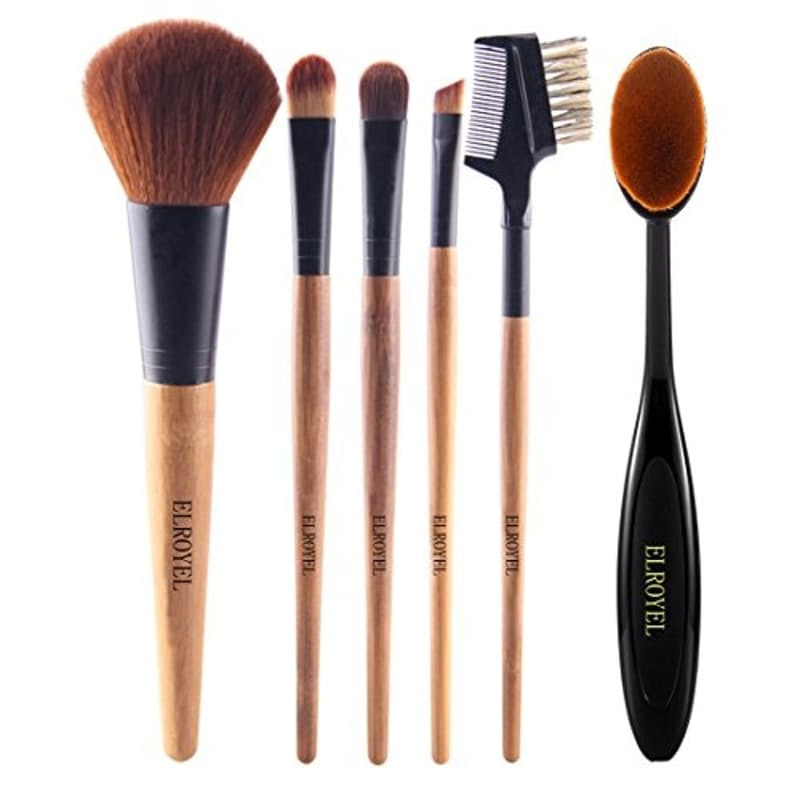 6 Piece Bamboo Make-Up Brush Set With Cosmetic Bag